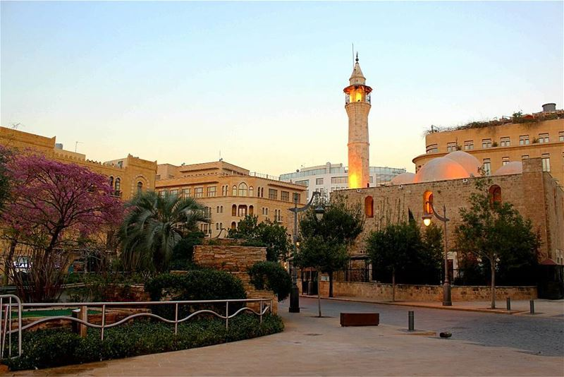 picoftheday tuesday morning lebanon beirut downtown mosque trees road... (Downtown Beirut)